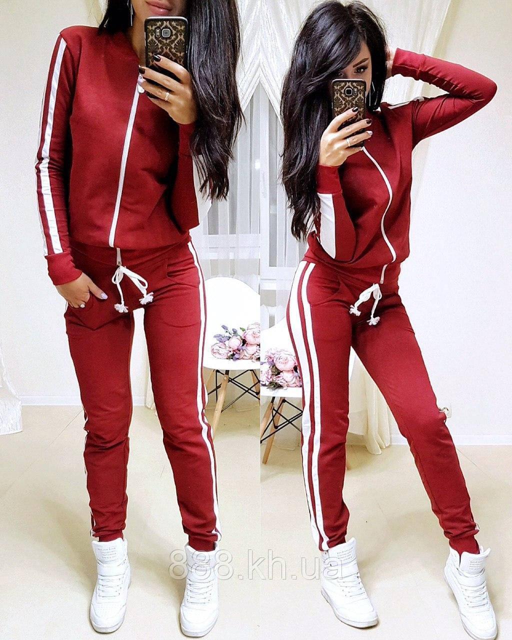 Женский спортивный костюм с лампасом, большие размеры, S/M/L/XL//2XL/3XL/4XL (красный)