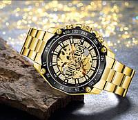 Часы механические с автоподзаводом золотистого цвета мужские наручные Winner 8186 Big Diamonds Gold Оригинал