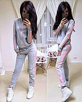 Женский спортивный костюм с лампасом, большие размеры, S/M/L/XL//2XL/3XL/4XL (серый/розовый), фото 1