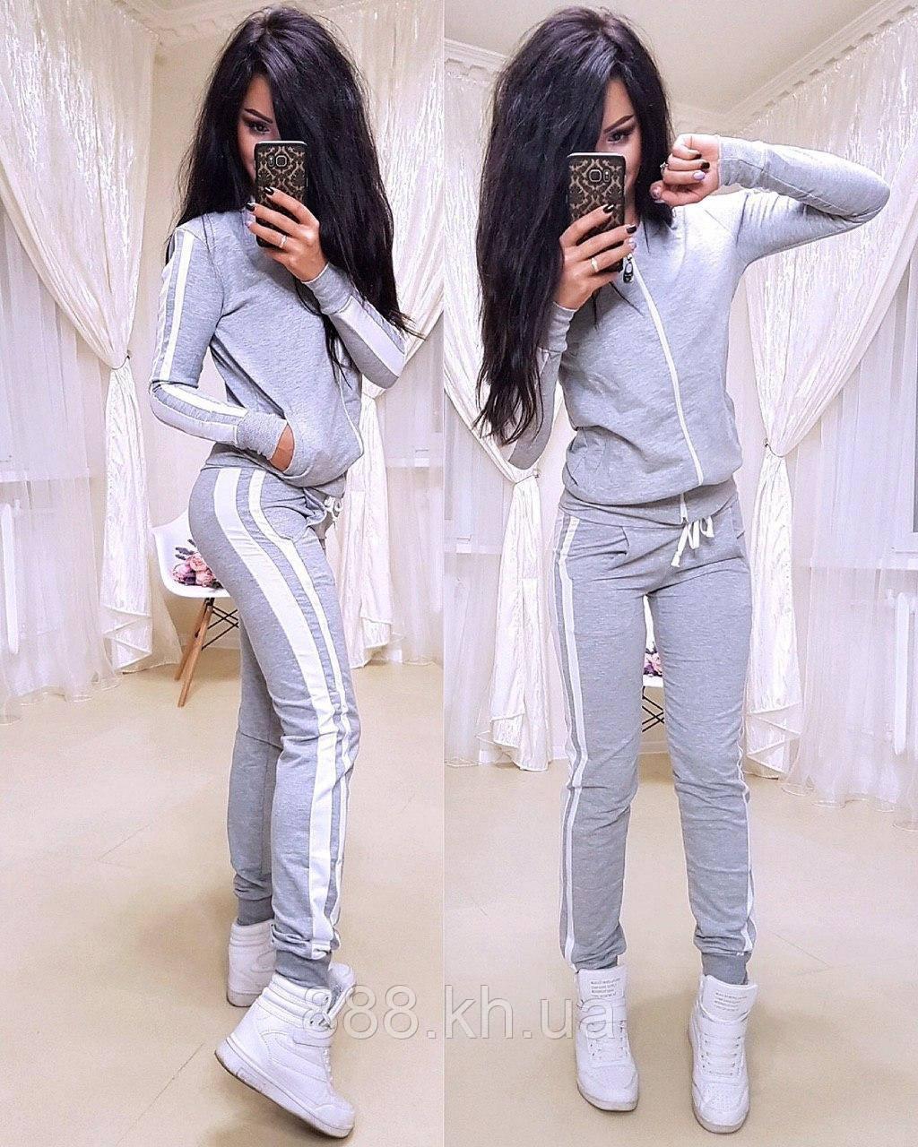Женский спортивный костюм с лампасом, большие размеры, S/M/L/XL//2XL/3XL/4XL (серый)