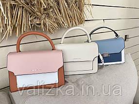 Женская сумка кросс-боди розовая с белым с ярким ремешком, фото 2