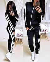 Женский спортивный костюм с лампасом, большие размеры, S/M/L/XL//2XL/3XL/4XL (черный), фото 1