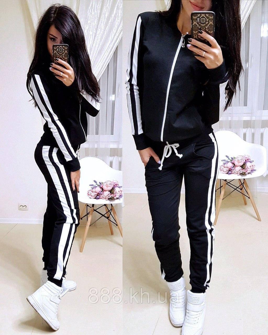 Женский спортивный костюм с лампасом, большие размеры, S/M/L/XL//2XL/3XL/4XL (черный)