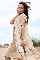 Свободное трапециевидное расклешенное льняное платье ( 1358.4153-4155-4143-4148-4133 svt)