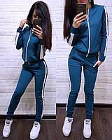 Женский спортивный костюм с лампасом, большие размеры, S/M/L/XL//2XL/3XL/4XL (синий), фото 1