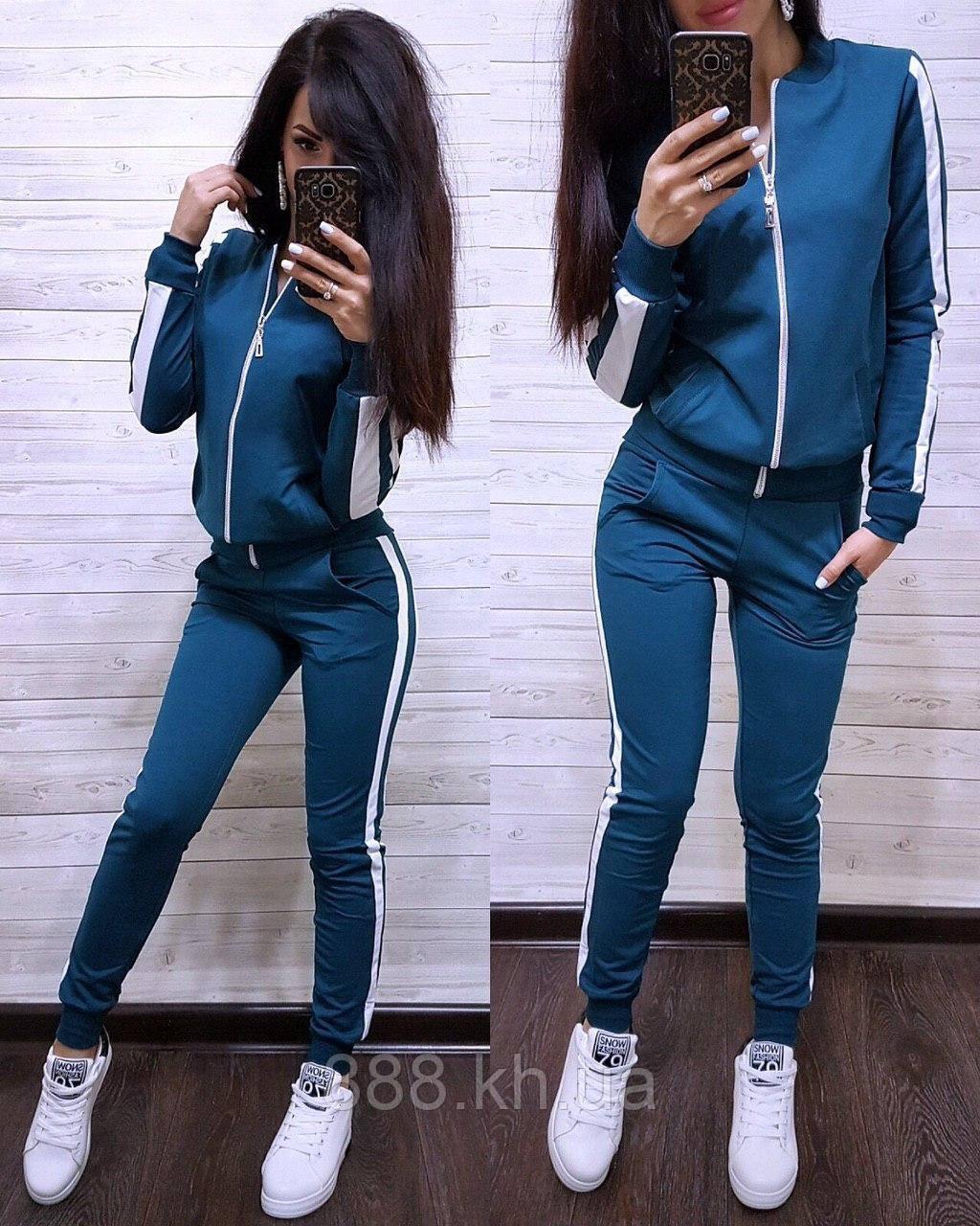 Женский спортивный костюм с лампасом, большие размеры, S/M/L/XL//2XL/3XL/4XL (синий)