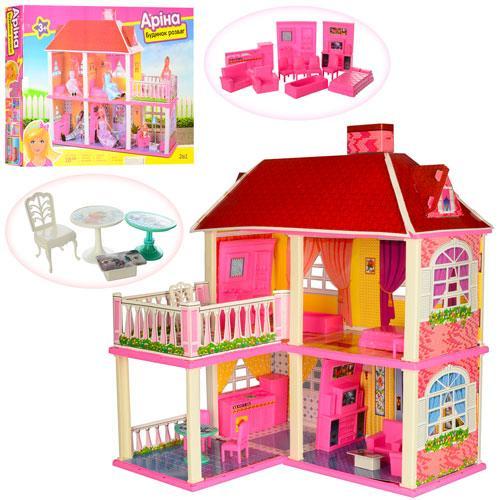 Домик 6980  83,5-70-25,5см,2в1,2этажа,5комнат,мебель,для куклы16см,в кор-ке, 63-48-9,5см