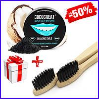 Зубной кокосовый порошок для отбеливания зубов Cocogreat 30 г и экологичная зубная щетка из бамбука в наборе