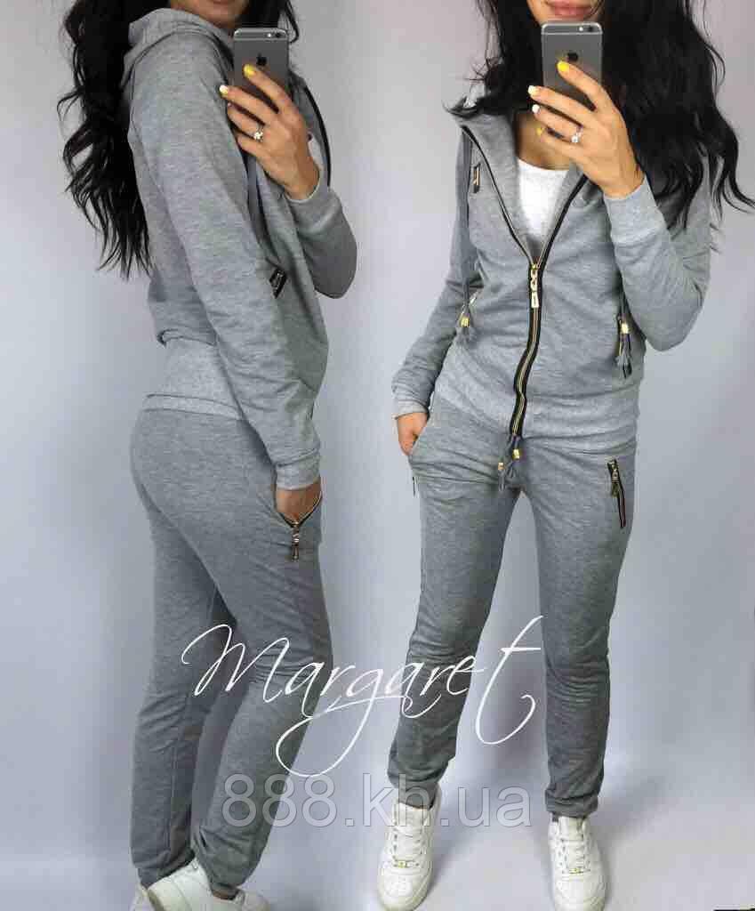 Женский спортивный костюм, есть большие размеры S/M/L/XL//2XL/3XL/4XL (серый)