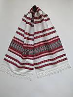 Рушник тканный с кружевом, красный, хлопок. 1,25 м., фото 1