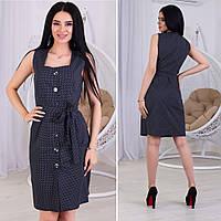 Женские летние платья-сарафаны 2020. 44,46,48 ( полномерные). Каттон ( принт- мелкий горошек)