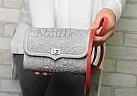 Кожаная серая сумочка трансформер, сумочка-клатч на плечо/на пояс, фото 1