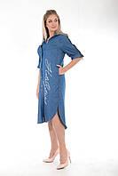 Длинное джинсовое платье-рубашка со змейками на рукавах А450