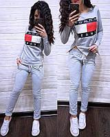 Женский турецкий костюм весна/лето Tommy Hulfiger, спортивный костюм двухнитка реплика S/M/L/XL (серый), фото 1