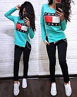 Женский турецкий костюм весна/лето Tommy Hulfiger, спортивный костюм двухнитка реплика S/M/L/XL (березовый), фото 1