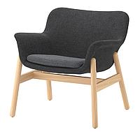 Стильное домашнее кресло тканевое серое на массива дерева с подлокотниками, фото 1