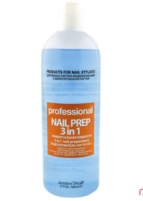 Рідина для знежирення нігтя Nail Prep 3в1 Jerden Proff, 500 мл Жерден Проф
