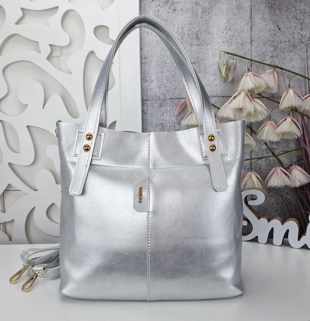 Женская сумка цвета серебро, эко-кожа