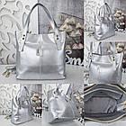Женская сумка цвета серебро, эко-кожа, фото 2