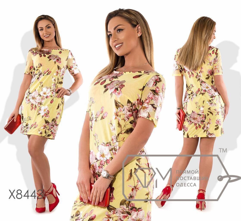 """Стильное платье с цветочным принтом и V-образным вырезом, ткань """"Хлопок+стрейч"""" 48, 52, 54 размер батал"""