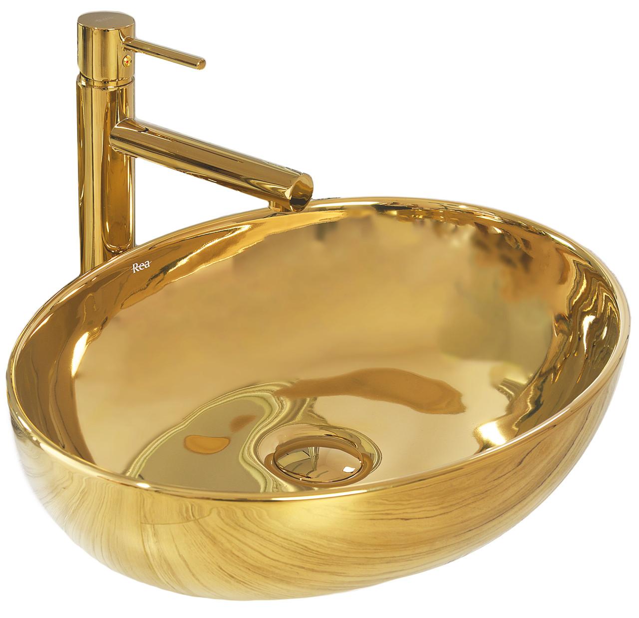 Умывальник раковина для ванной на столешницу REA CAROLA SLIM GOLD REA-U4321
