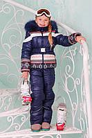 """Верхняя одежда, детская зимняя, комбинезон/комплект для девочки с отстегивающимся капюшоном """"Бемби"""""""