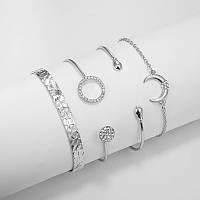 Изумительный комплект браслетов с месяцем 4 в 1 в серебре