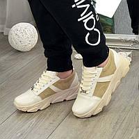 Кроссовки женские на спортивной подошве из натуральной кожи и замши, цвет бежевый. 37 размер