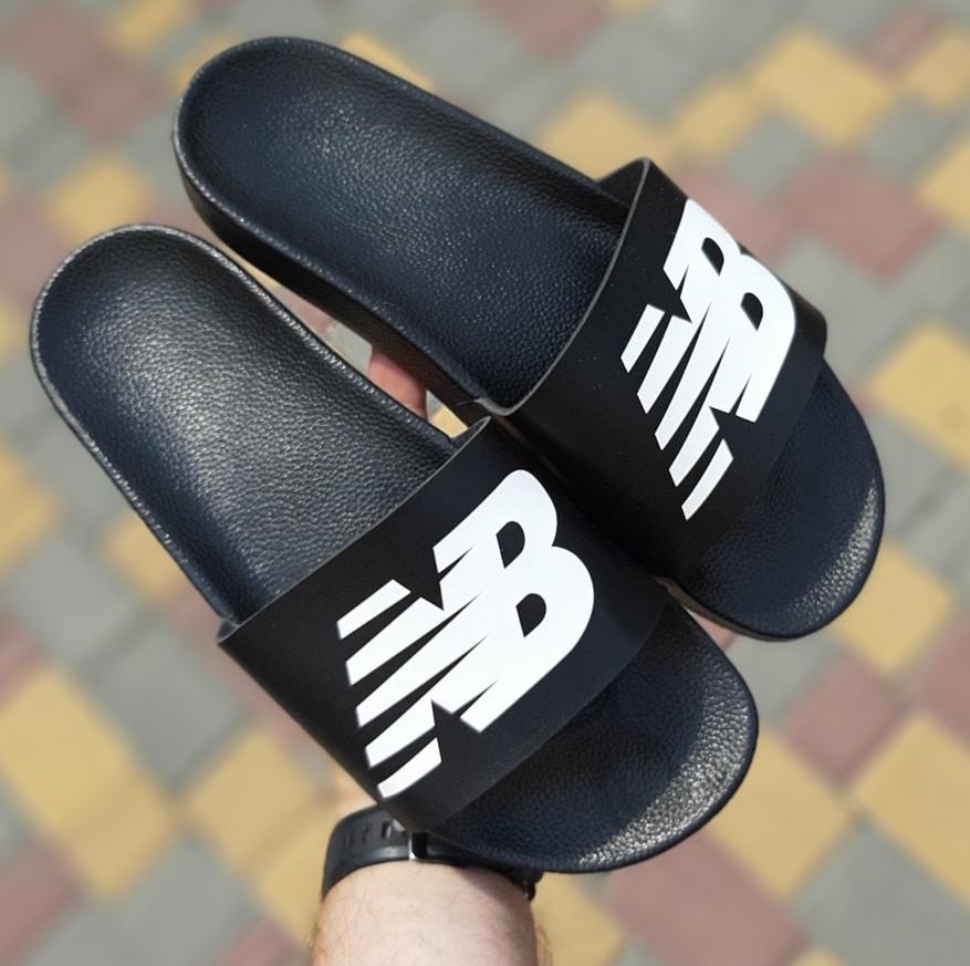 Мужские шлепанцы New Balance шлепки летние низкие сланцы черные. Живое фото. Реплика
