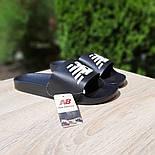 Мужские шлепанцы New Balance шлепки летние низкие сланцы черные. Живое фото. Реплика, фото 2