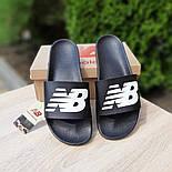 Мужские шлепанцы New Balance шлепки летние низкие сланцы черные. Живое фото. Реплика, фото 5