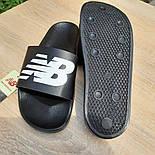 Мужские шлепанцы New Balance шлепки летние низкие сланцы черные. Живое фото. Реплика, фото 6