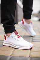 Белые мужские кроссовки из текстиля летние легкие кросовки с красной подошвой