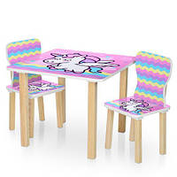 Детский столик деревянный с двумя стульчиками 506-65 Единорог