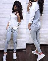 Женский спортивный костюм двухнитка весна/лето с коротким рукавом S/M/L/XL (белый/серый), фото 1