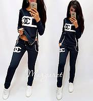 Женский спортивный костюм, Турецкий костюм для прогулок S/M/L/XL/2XL (темно-синий), фото 1