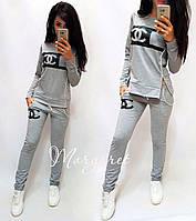 Женский спортивный костюм, Турецкий костюм для прогулок S/M/L/XL/2XL (серый/черный рисунок), фото 1