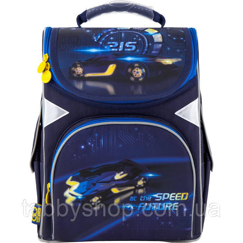 Ранец ортопедический для мальчика GoPack синий с машинкой 5001S-13