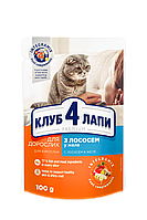 Клуб 4 лапы влажный корм для кошек с лососем в желе 100гр*24шт.