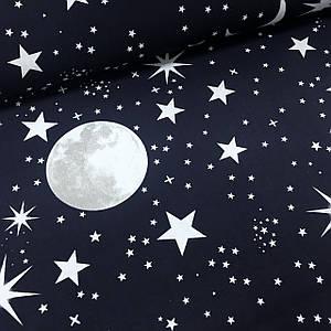 Ткань бязь Gold хлопковая луна и звезды белые на темно-синем (шир. 2,2 м)