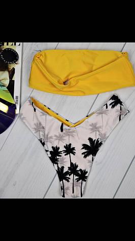 Купальник раздельный  желтый с пальмами на трусах, фото 2