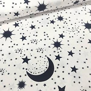 Ткань бязь Gold хлопковая месяц и звезды темно-синие на белом (шир. 2,2 м)