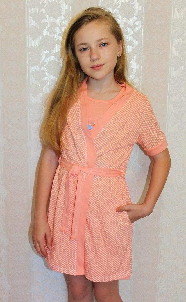 Комплект летний детский ночная и халат трикотажный для девочек персик 36-42р.