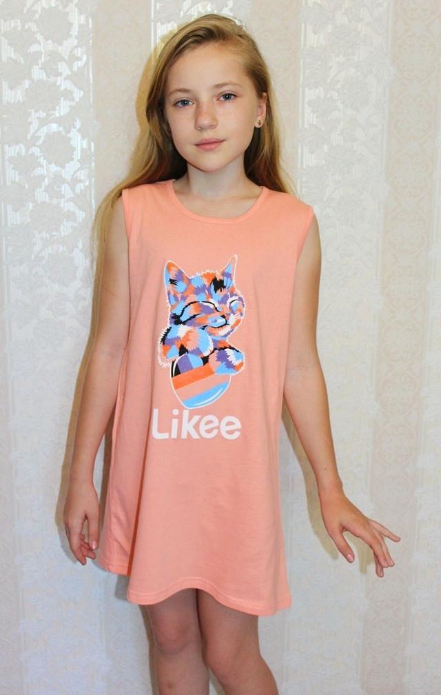 Комплект летний детский ночная и халат трикотажный для девочек персик