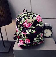 Женские маленькие рюкзачки с цветами Черный