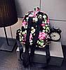 Женские маленькие рюкзачки с цветами Черный - Фото