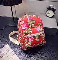 Женские маленькие рюкзачки с цветами Красный