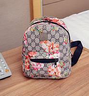 Рюкзак женский маленький с цветами Серый