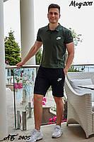 Летний мужской спортивный костюм Найк шорты и футболка поло хаки с чёрным 48 50 52 54