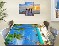 Виниловая наклейка на стол Бирюзовая вода и Пальмы пляж самоклеющаяся пленка декор море, голубой 850*1450 мм